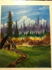 16 x 20 Oil Painting of Rustic Cabin in Autumn on Canvas Board