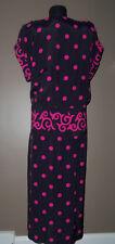 Vtg 80s SCROLLING POLKA DOT Rayon Drop Waist Dress Christina Grant 12