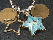 "Beach Starfish Gold & Blue with Bronze Star Charm Tibetan Silver 18"" Necklace"