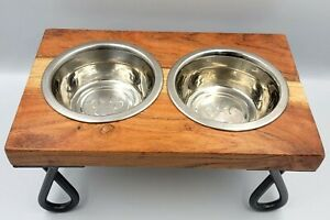 Elevated Cat Small Dog Puppy Feeder Bowls Holds 1.5 Cups Metal Wood