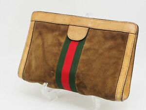 【Rank B】Auth GUCCI Vintage Pouch Clutch Sherry Line Suede Leather From JapanA113