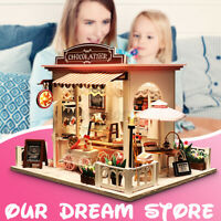 Doll House Miniature DIY Kit Dolls Toy House W/ Furniture LED Light Box Gift US