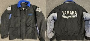 Vintage YAMAHA FACTORY RACING Black Blue Snowmobile Parka Coat Jacket Size M