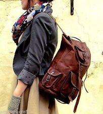 """16""""Real genuine Leather Men's Backpack Satchel Brown Vintage Bag laptop Rusksack"""