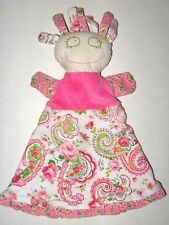 Maison Chic Cloth Doll Pink Paisley Floral Puppet Rattle Security Blanket Baby