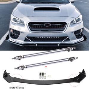 For Subaru Impreza Legacy WRX STI Front Bumper Lip Splitter Glossy + Strut Rods