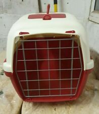 Cat carrier. Plastic by Stefanplast. Red and cream