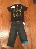 Gymboree Boys Outfit  Short Sleeve T-Shirt Graphic Tee Robots Jeans 2T Gym 22