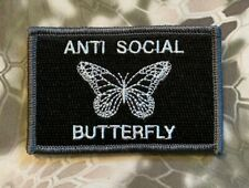 VELCRO® BRAND HOOK Fastener ANTI-SOCIAL Butterfly Black Patches 3x2""
