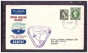 s16137) COCOS ISL.23.5.1955 Quantas 1st flight Cocos Sidney Australia