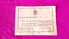 RECIBO DE LA OFICINA DEL CORREO GENERAL 1816, ANTONIO GUILLERMO, NICOLAS DELGADO