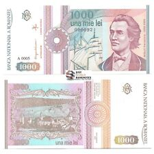 More details for romania banknotes 1000 lei 1991 p-101ab very low serial numbers 0000xx unc