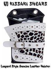 Kissaki Leopard Genuine Leather Hair Scissors Holster Cosmetologist Shears Pouch