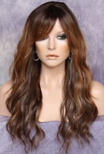 Long Beach Wavy Brown Blonde mix Full Wig Heat safe hair pieceBangs wig FBW 7002