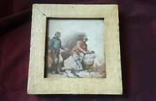 19th C 1896 Dated Watercolour of Fishermen signed F.R - framed