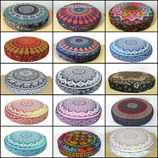 Beautiful Mandala Flower Design Round Floor Cushion Cover 35 Inches Cotton Art