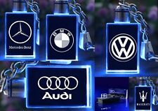 NEW 3D CRYSTAL LED KEYRINGS CAR LOGO DESIGNS KEYCHAIN LIGHT CHANGING XMAS GIFTS