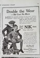 1920 Vintage Boys Steel Fiber NIK Suits Clothing Fashion Bicycle Original Ad