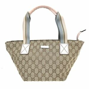 100% Authentic GUCCI GG Canvas Handbag Pink 131228 [Used] {08-282D}