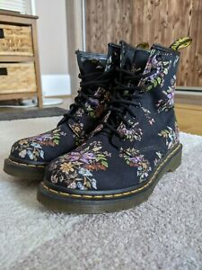 UK 5 Dr. Martens Castel Belladonna Victorian flowers floral canvas boots eu 38