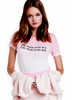 "NEW NWT $88 WILDFOX ""MOON IS MY SUN NIGHT IS MY DAY"" PINK & WHITE OMBRE TEE TOP"