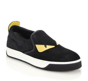 Authentic FENDI Monster Eyes Slip-on Black/Yellow Suede Sneakers Size 13 14