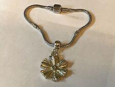 Rhodium Plated Snake Bracelet Flower Tg130 on a silver