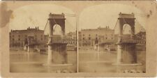 Lyon La passerelle du Collège Photo Stereo Vintage albumine ca 1855-8