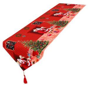 Christmas Table Runner Floral Tassel Tablecloth Party Home Decor Santa Print