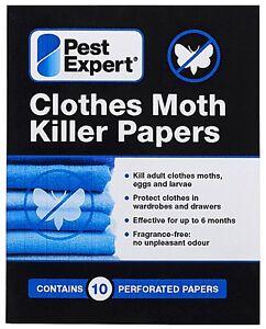 PACK OF 10 MOTH KILLER PAPER STRIPS PEST EXPERT KILLS MOTHS, EGGS AND LARVAE