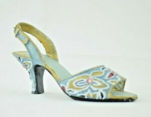 """Miniature 4.5"""" Light Blue Floral Chunky Cone Heel Resin - Collectible Figure"""