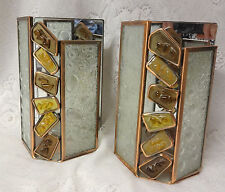 Art Deco PARTY LITE Wall Sconce Fixtures Candle Holder Stained Glass Mirror Lamp