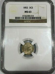 1852 MS63 3c Silver