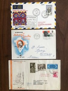 3 X INDIA OLD COVER COLLECTION LOT GANDHI FDC 1969 !!