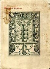 Calendario Storico Della Famiglia Colonna. . 1923. I ED..