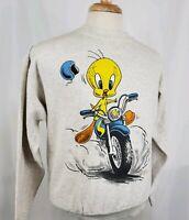 Vtg 90s Looney Tunes Tweety Motorcycle Sweatshirt Medium 50/50 L/S Crew Gray USA
