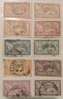 1900 FRANCE 10 TIMBRES Merson Y & T N° 119 / 240 Oblitéré