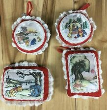 Vintage Disney Fabric Holiday Ornaments Winnie the Pooh Mini Pillows Rare! Print