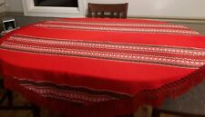 Beautiful vintage oval tablecloth red cotton blend crochet fringe holiday 64x66