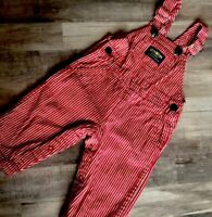 Vintage Oshkosh Baby Bgosh Vestbak Mechanic Overalls Pants Red Striped