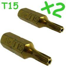 Torx Security Star+Pin T15 Screw driver Bit x2  TX15 Titanium coated long life