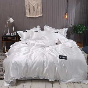 Lace Satin Silk Bedding Set  Luxury Duvet Covers With Pillowcase Single BedSheet