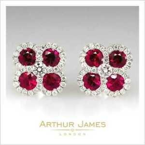 Red Ruby Round Cut 2 Ct Diamond Push Back Flower Stud Earrings White Gold Finish