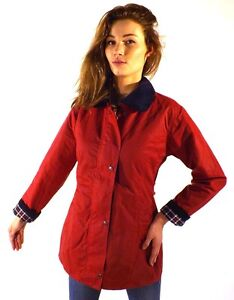 Wax Jacket New Women's Made In England Fitted Coat Jacket Red XS S M L XL