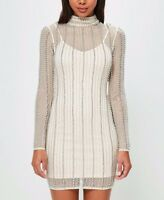 Missguided Peace Love High Neck Embellished Bodycon Mesh Party Dress 6 to 18
