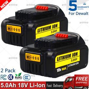 For DeWalt DCB184 18V 5Ah Li-ion XR Slide Battery DCD785 DCF885 DCB182 DCB180 x2