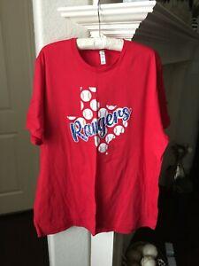 NWOT Bella+ Canvas Texas Rangers Baseball Red T-shirt - Size 3XL