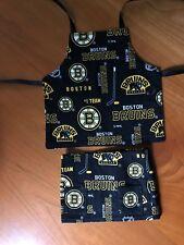 Handmade doll apron and skirt; Boston Bruins; apron reversible; 100% cotton