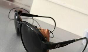 VUARNET PX5000 SUNGLASSES BLACK With SIDE GLARE LEATHER SHIELD Vintage France