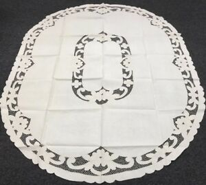 """Embroidery 72x90"""" Oval Beige 100% Thick Cotton Embroidered Tablecloth 8 Napkins"""